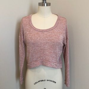 Nollie Pink Cropped Scoop Neck Sweater